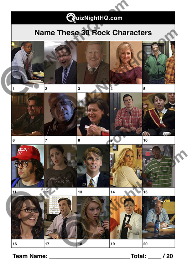 30 rock tv show characters picture trivia round