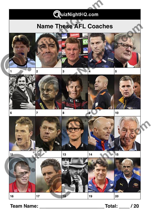 afl coaches trivia picture quiz question round