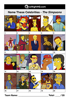 trivia picture sheet the simpsons famous faces