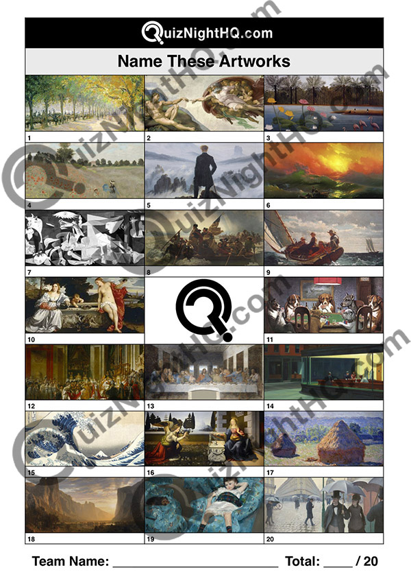 famous artworks name the piece trivia question picture
