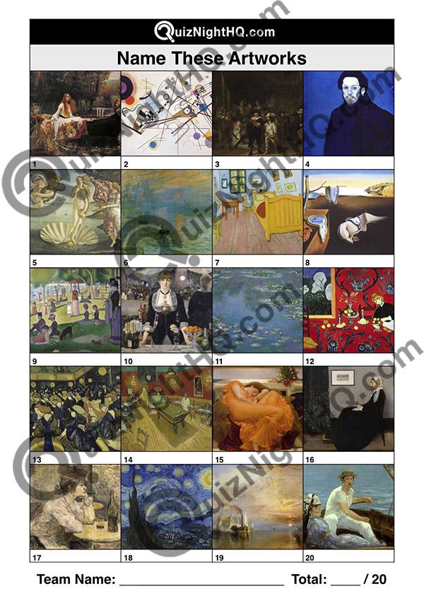 name artwork trivia art picture quiz