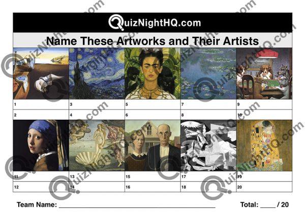 art artists trivia picture round