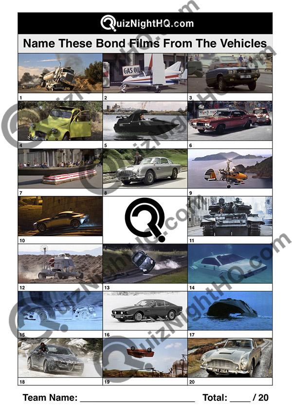 james bond films vehicle car movie trivia round