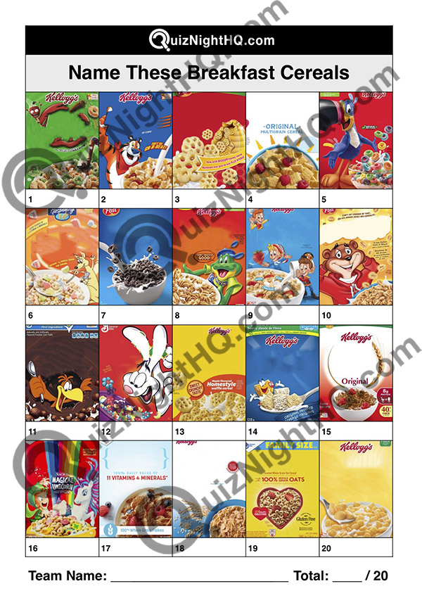 breakfast cereals american picture trivia round