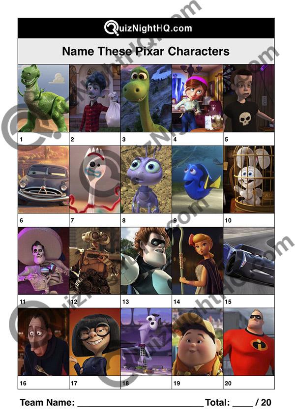disney pixar characters picture trivia round