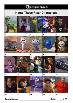 disney pixar characters picture trivia round