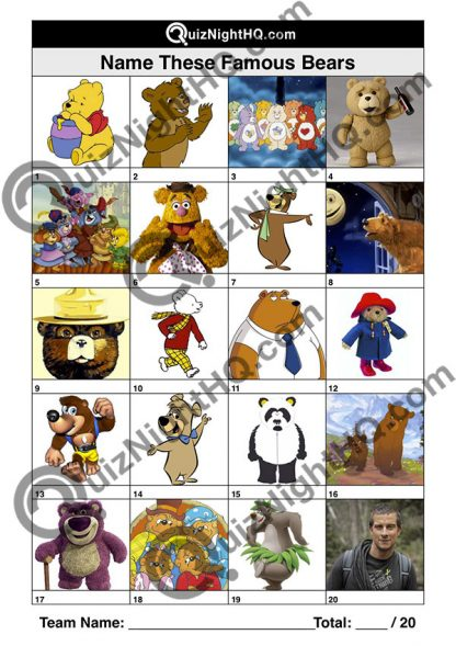 Famous Bears Trivia Round