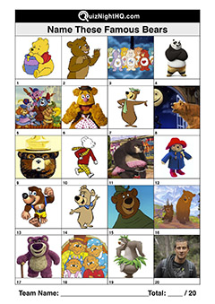 famous cartoon characters bears from movies tv books