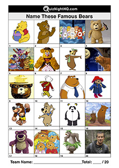 Trivia Picture Round Famous Bears