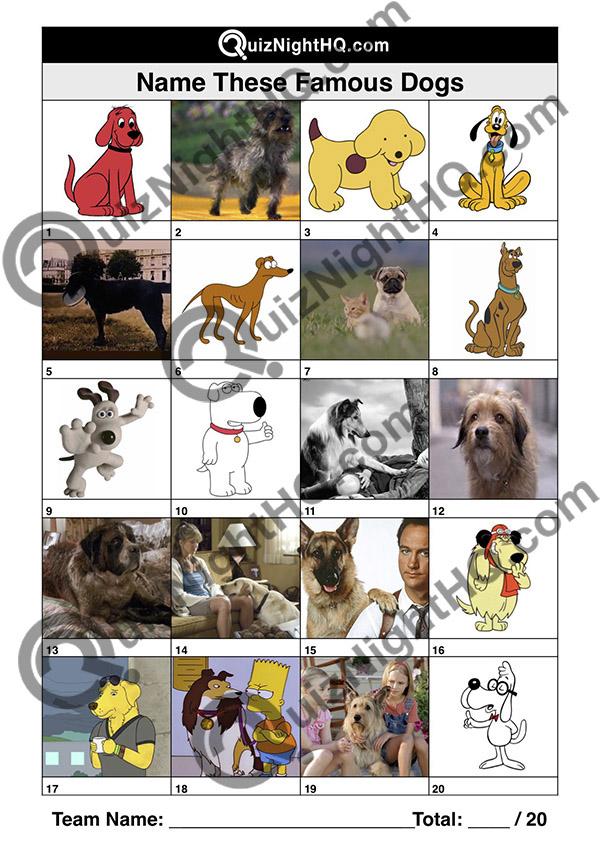 Quiz Table Question Famous Dogs
