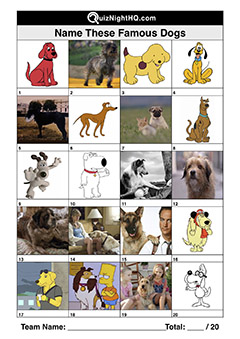 Trivia Picture Round Famous Dogs 2