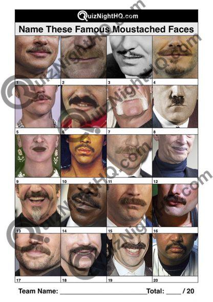 famous faces famous moustaches trivia picture round