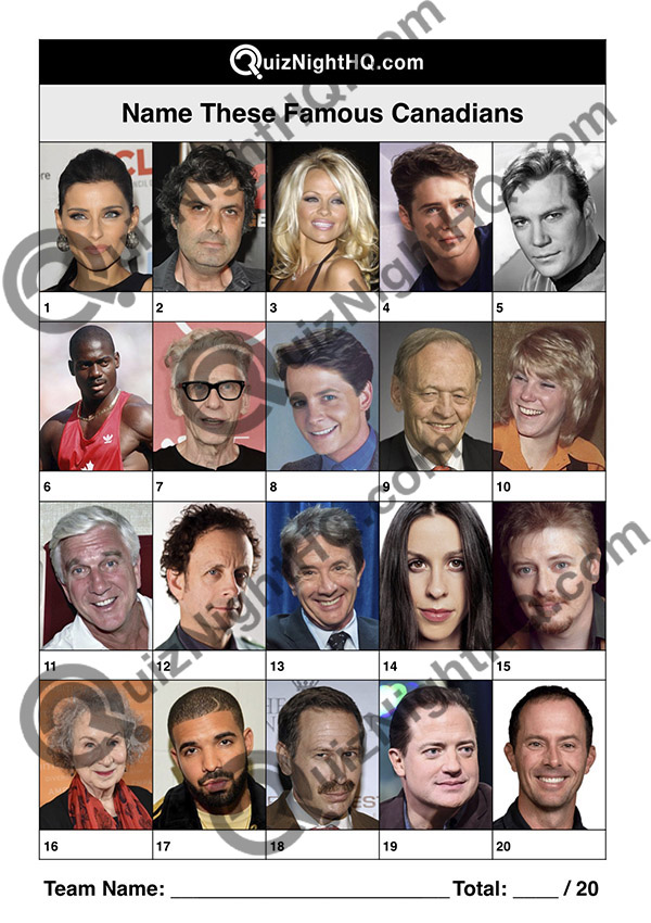 famous people canada picture round quiz night