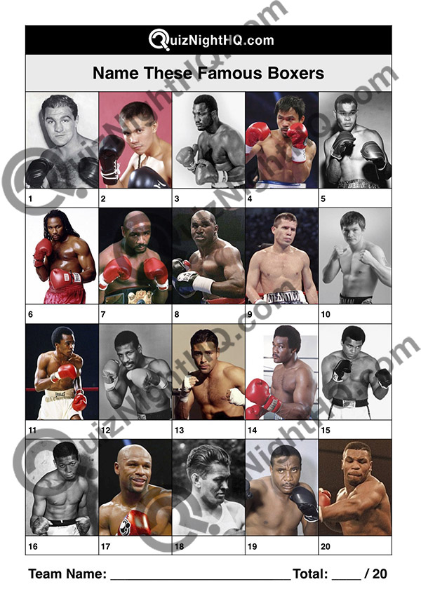 famous sport faces boxers trivia picture round