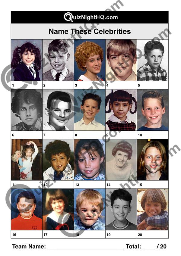 famous faces as kids picture trivia quiz