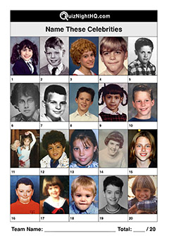famous faces as kids picture trivia quiz