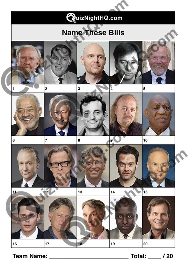famous faces bills celebrity trivia question