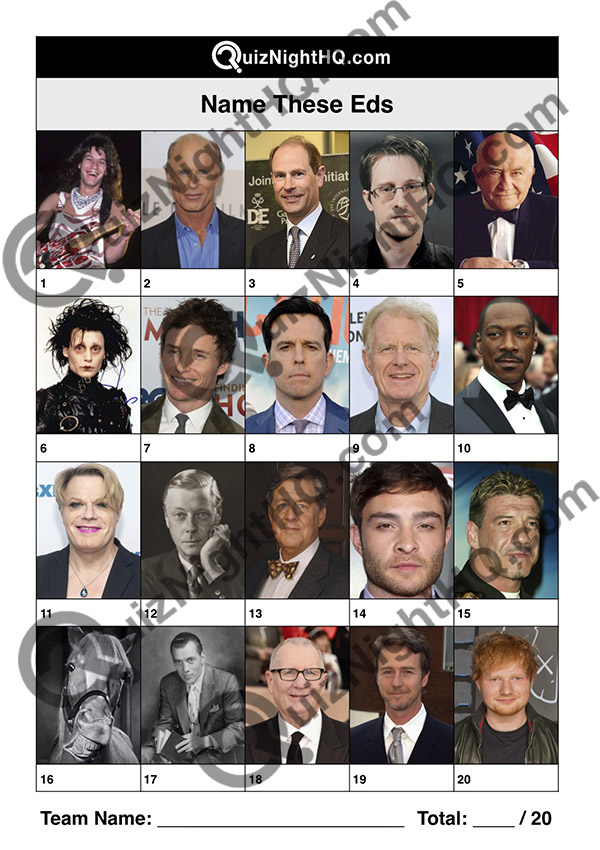 famous faces people named ed trivia picture round