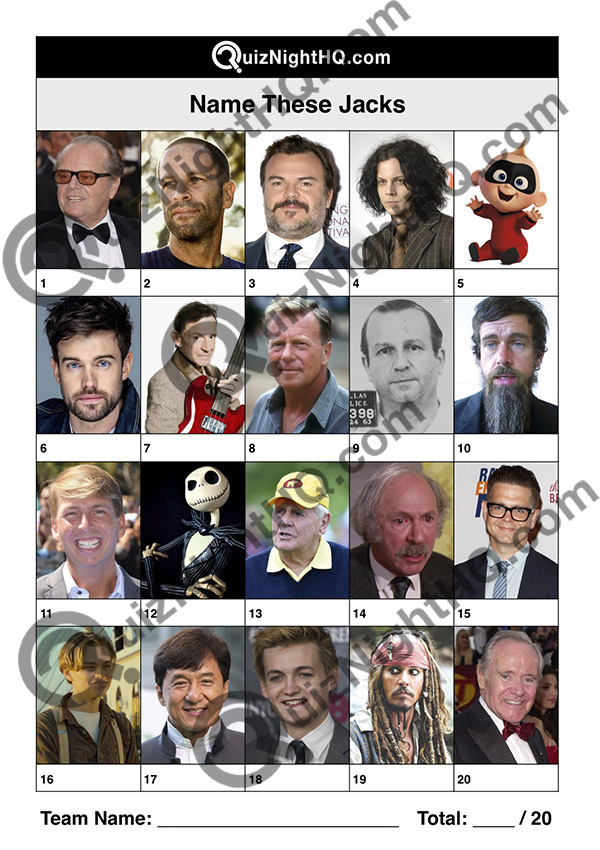 famous faces people named jack trivia picture round