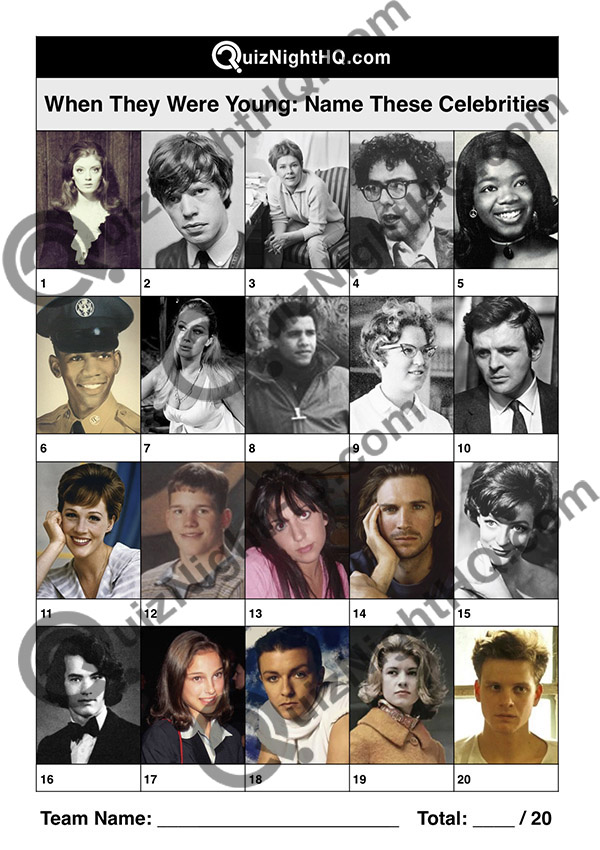 young celebrity famous face trivia question quiz round
