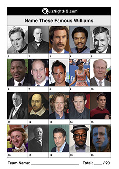 famous celebrity faces will william trivia picture quiz