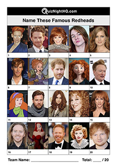 redhead famous faces ginger celebrities trivia picture quiz round
