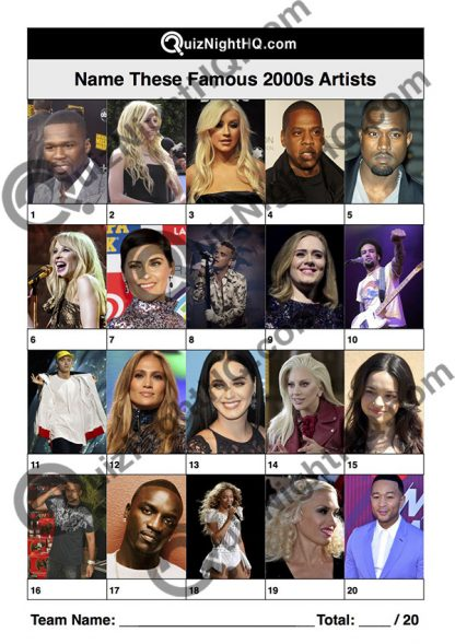 famous musicians 2000 naughties artist music trivia picture round