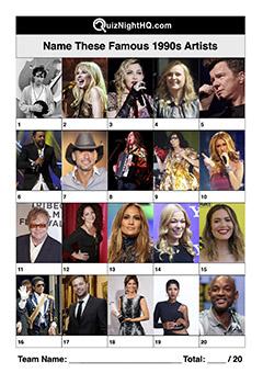 famous faces musicians 1990s trivia picture round