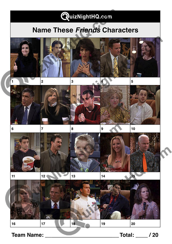 friends characters question sheet trivia round