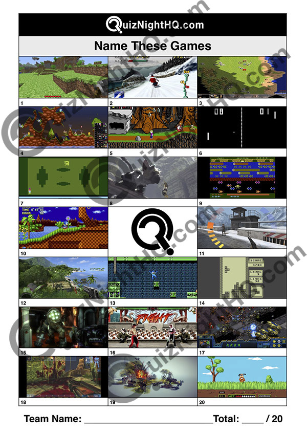 Gamer screenshots computer games picture trivia round