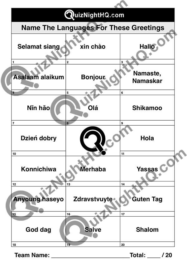 hello various language from around the world