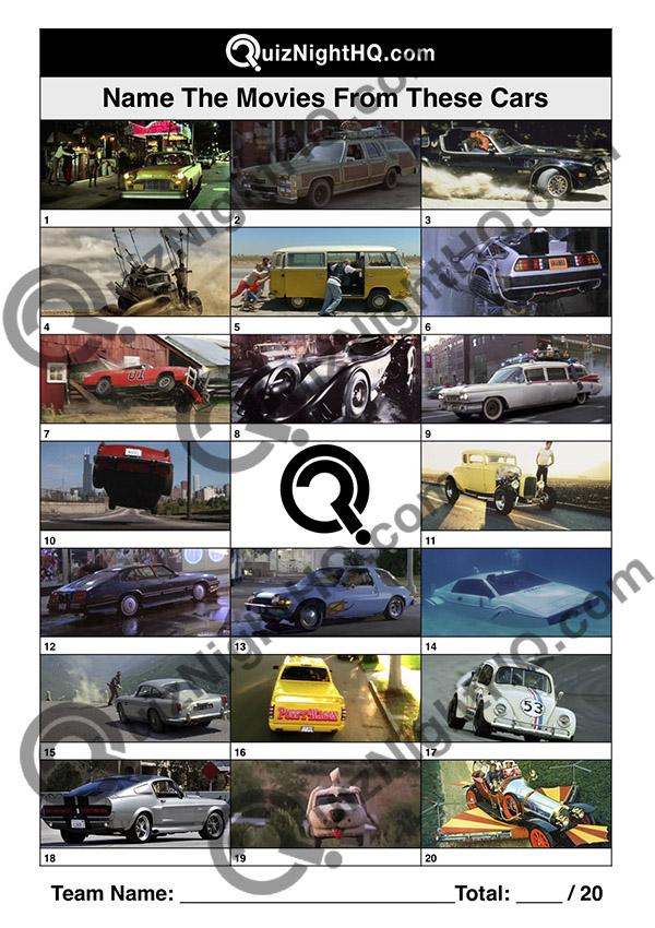 trivia picture round movie cars