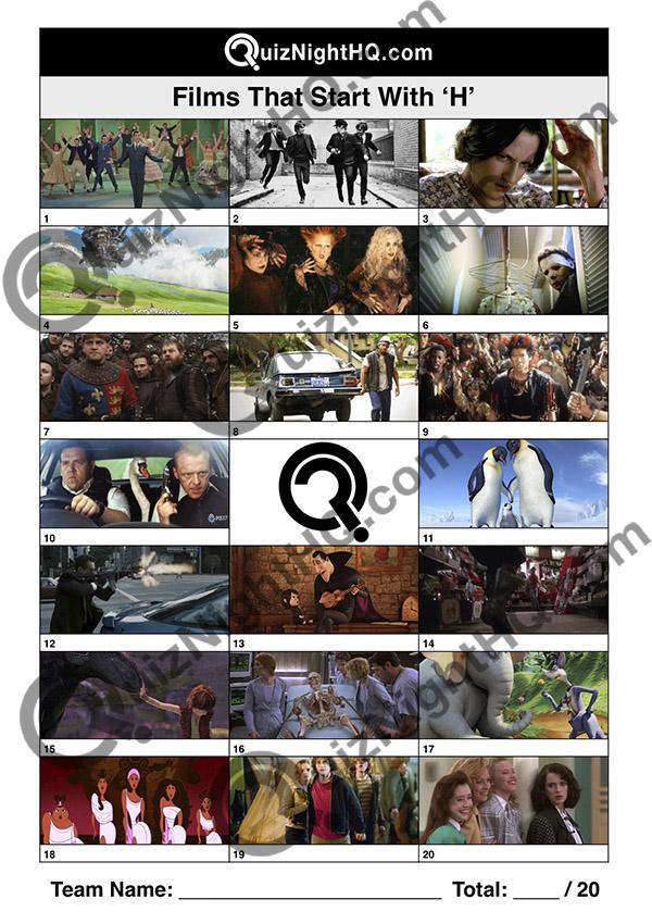 movie screenshot trivia films starting with h quiz