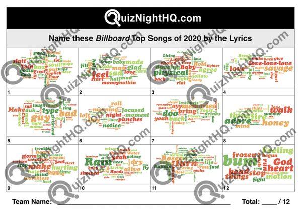 music lyrics top billboard songs 2020 trivia quiz round