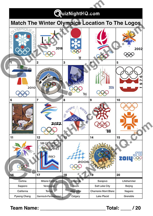 winter olympic games logos trivia quiz