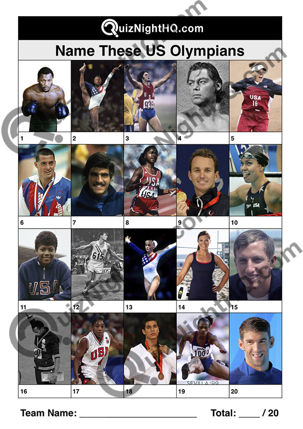 us american usa olympic atheletes famous faces trivia picture quiz