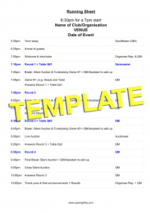 Running Sheet TEMPLATE