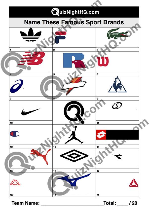 Company Logos 010 Sport Brands Quiz Night Hq