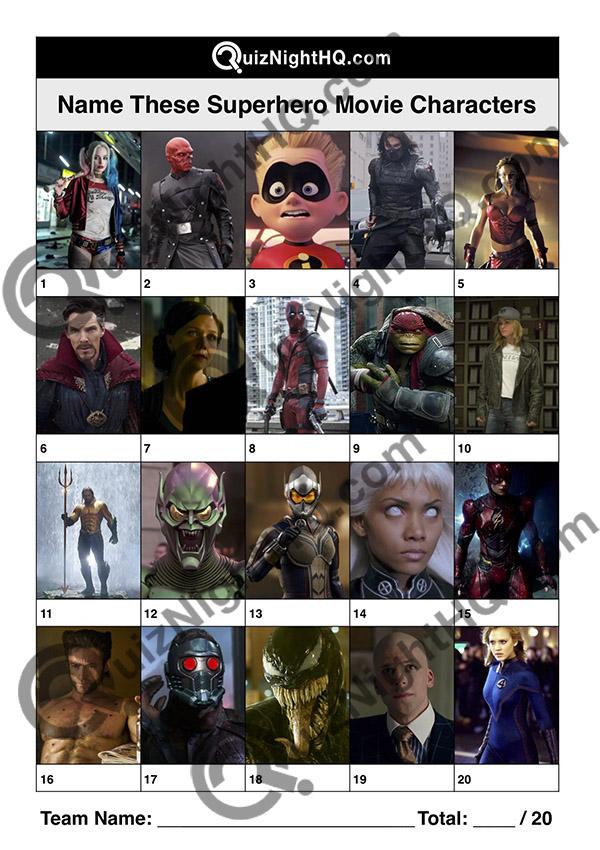 superhero film characters quiz question