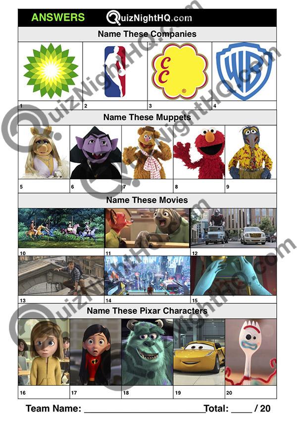 trivia logos muppets movies pixar kids picture round