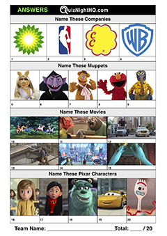trivia logos muppets movies pixar kids picture round