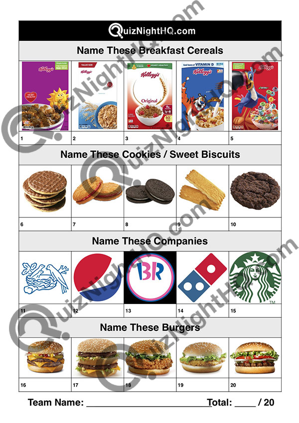 trivia jumble cereal cookies logos burgers picture round