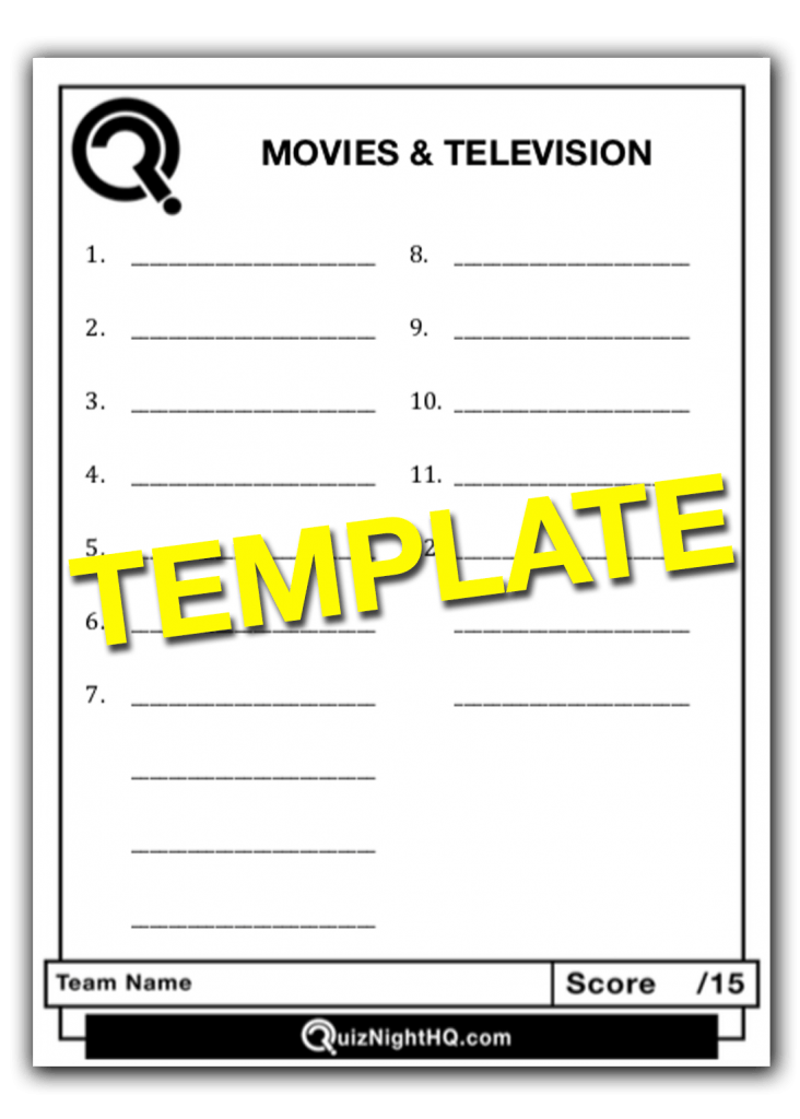 Trivia Round Question Sheet Template