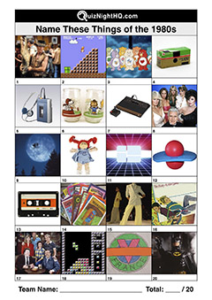 1980s decade things toys items favourite trivia picture quiz round