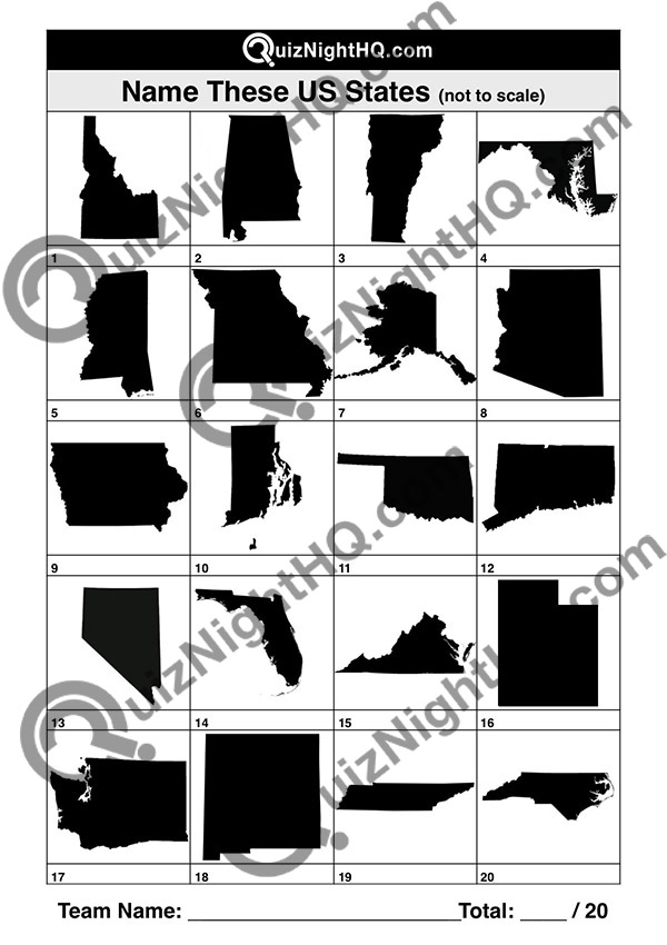 USA state map geography quiz question picture round