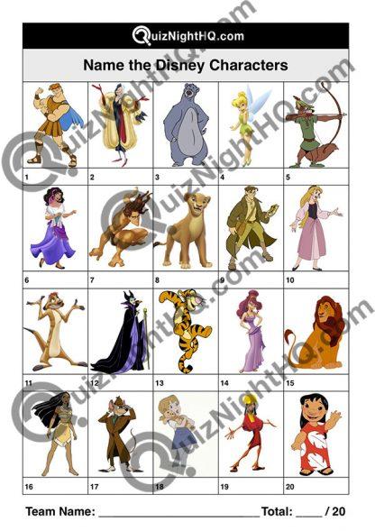 disney characters 001 questions