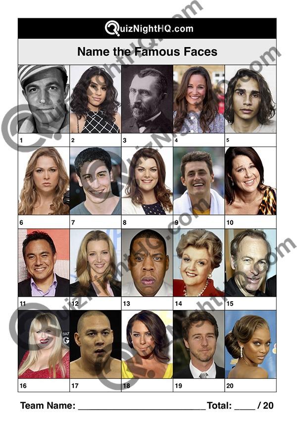 famous faces 001 questions