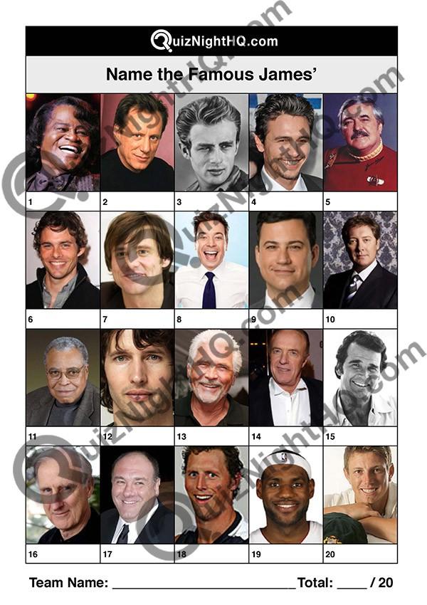 famous faces 007 james questions