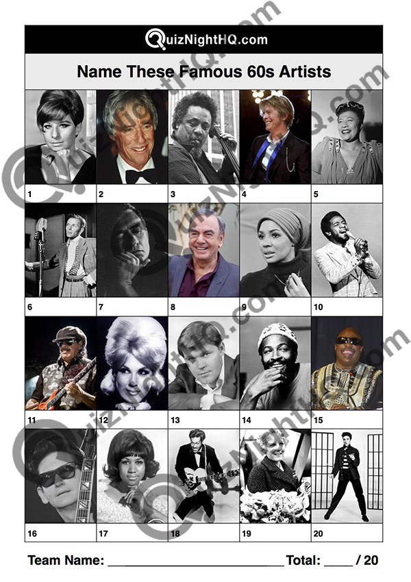Trivia Picture Round Music 1960s