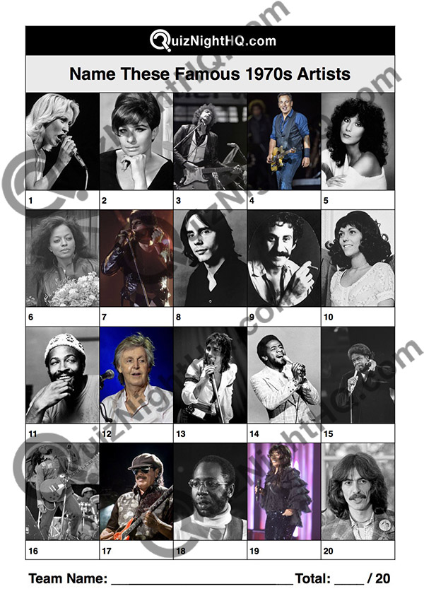 Trivia Picture Round Music 1970s